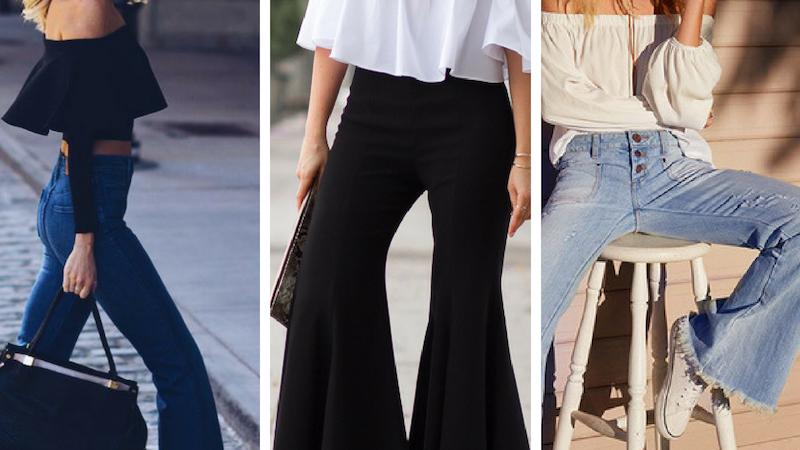Pantalones de campana y zapatos que combinan